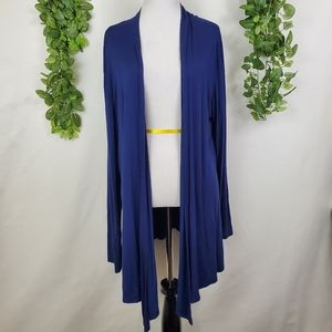All Yours open front asymmetrical navy cardigan